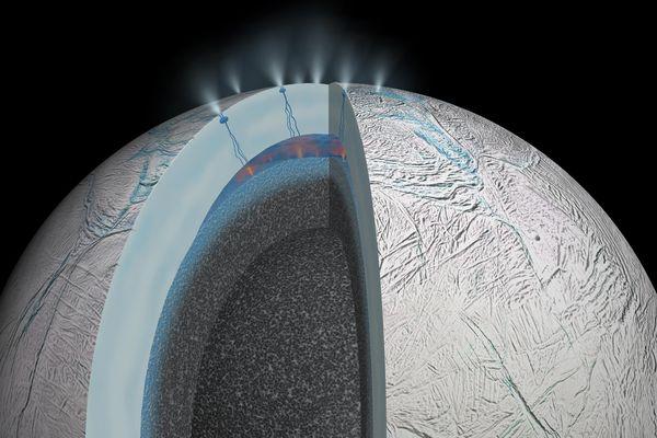 Sous la surface glacée du petit satellite de Saturne, Encelade, un océan liquide.