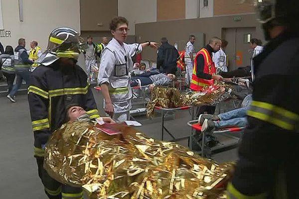 Montpellier - exercice d'attaque terroriste à la gare TGV Sud de France - 28 novembre 2017.