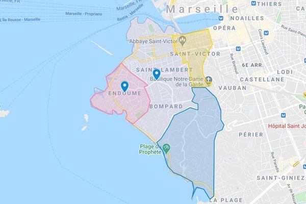 La série de cambriolages s'est produite dans ces trois quartiers du 7ème arrondissement de Marseille, cet été.