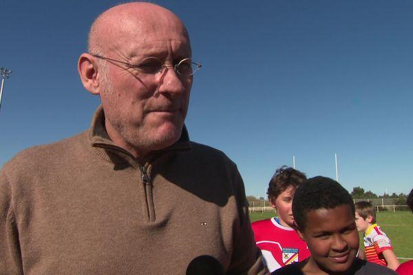 Le président de la Fédération française de rugby Bernard Laporte, ce 11 mars à Perpignan.