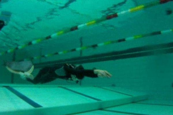 Les nageurs sont lestés au fond du bassin