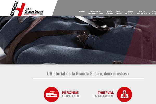 Capture d'écran du nouveau site de l'Historial de la Grande Guerre