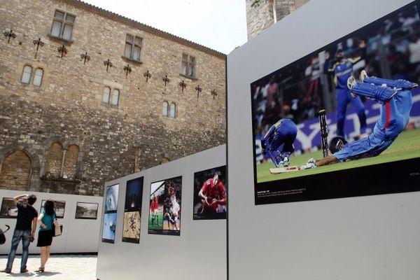 Narbonne (Aude) - festival Sportfolio exposition dans la cour du Palais des Archevêques - juin 2012