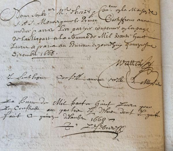 Signature de François « Wattel, maître d'hostel & controleur en la maison de Son Altesse Sérénissime Monseigneur le Prince » de Condé, 15 décembre 1668 sur un mémoire de vaisselle d'argent livrée au prince de Condé.