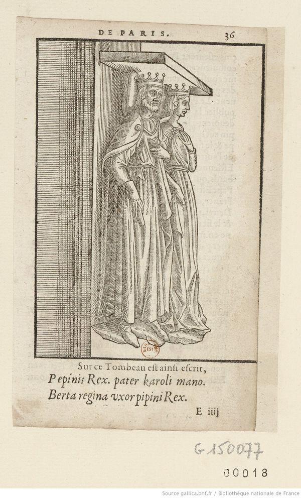 Sur cette estampe est reproduit le tombeau de Pépin le Bref et de Berthe de Laon en la basilique Saint Denis.