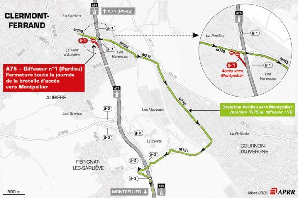 Jeudi 25 mars, près de Clermont-Ferrand, la circulation sera déviée sur l'autoroute A75.