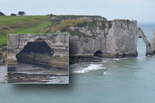 Les falaises d'Etretat avec l'arche et l'aiguille. En médaillon : détail du Trou à l'homme