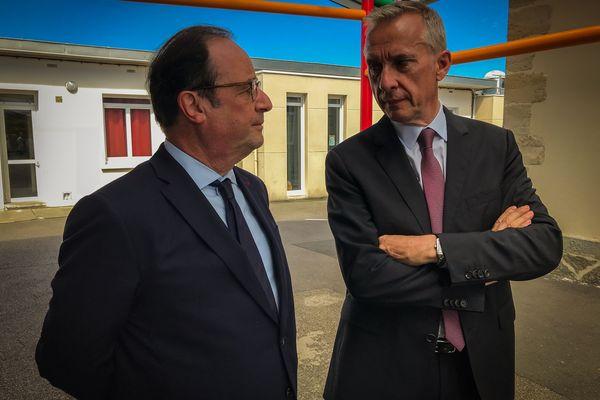 Bernard Combes, maire de Tulle et François Hollande, en 2018