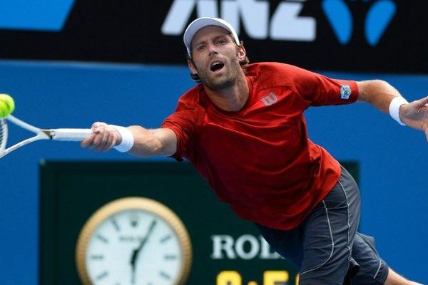 Stéphane Robert face à Andy Murray lors des huitièmes de finale de l'Open d'Australie - 20 janvier 2014