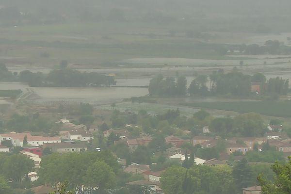 Vue sur la ville de Calvisson inondée, le 14 septembre 2021.
