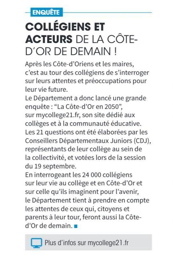 """En 2018, le conseil départemental de Côte-d'Or a lancé auprès des collégiens une enquête baptisée """"La Côte-d'Or en 2050""""."""