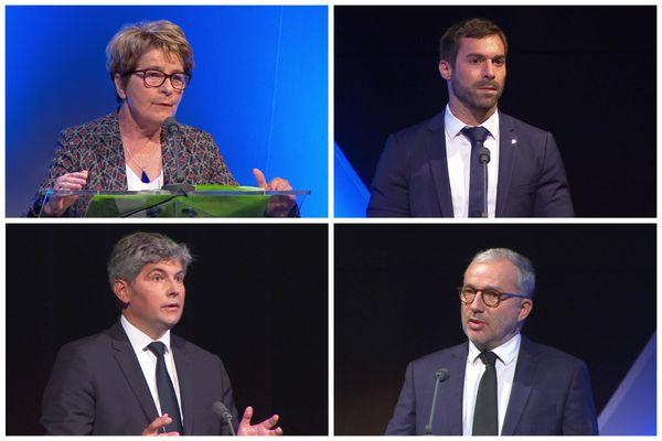 Marie-Guite Dufay, Julien Odoul, Gilles Platret, Denis Thuriot lors du débat régional du premier tour