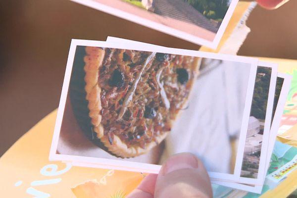 Des vignettes de plats niçois, comme la pissaladière, ou de sites emblématiques de la ville de Nice