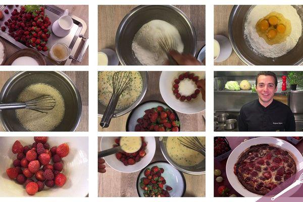 Les étapes de la recette du clafoutis aux fruits rouges