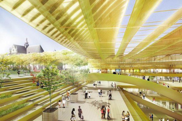 La canopée, en forme de feuille translucide, abritera 6.000 m2 d'équipements culturels, dont un conservatoire et une médiathèque. Inauguration le 5 avril.