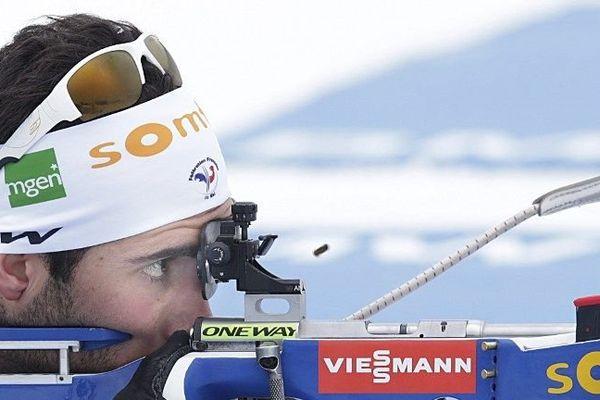Martin Fourcade à la coupe du monde de Biathlon, en Norvège à Oslo.