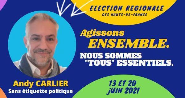 L'affiche de campagne d'Andy Carlier pour les élections régionales de 2021 dans les Hauts-de-France