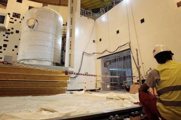 La cuve du réacteur EPR de Flamanville photographiée sur le chantier en novembre 2014