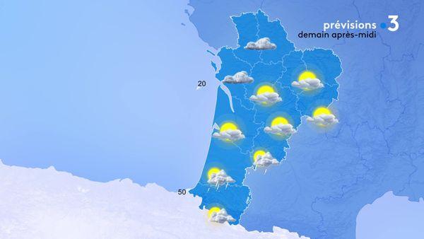 Les averses seront encore nombreuses au sud de la région demain...