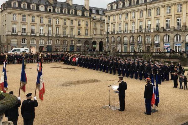 Un hommage a été rendu au gendarme Arnaud Beltrame à Rennes ce mardi 28 mars.