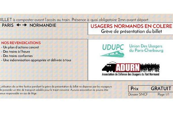 L'UDUPC et l'ANDUR invitent les usagers normands du train à présenter ce billet factice aux contrôleurs en signe de protestation