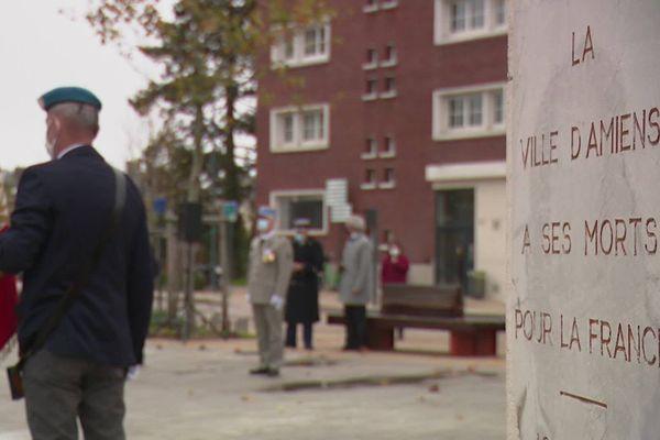 La commémoration du 11-Novembre à Amiens, dans le respect des mesures sanitaires.