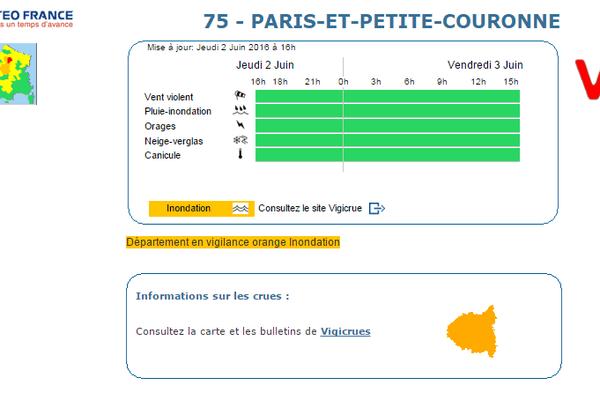 Météo France déclare la vigilance orange sur le territoire de Paris et sa petite couronne.