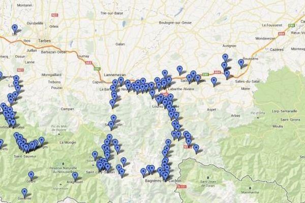 Carte des communes de Midi-Pyrénées en bleu ( Haute-Garonne et Hautes-Pyrénées) et d'Aquitaine en rouge (Landes et Pyrénées-Atlantiques) concernées par l'arrêtée de catastrophe naturelle publié au journal officiel le 29 juin 2013