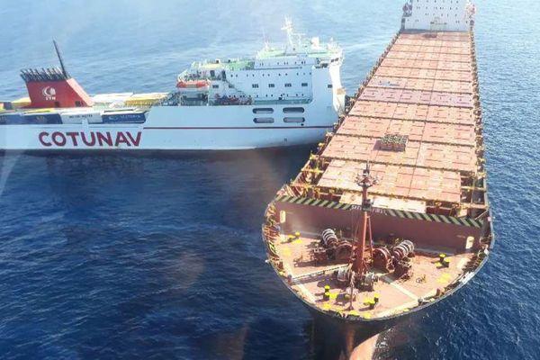 07/10/2018 - Deux bateaux, un navire roulier et un porte-conteneurs sont entrés en collision dimanche matin au nord-ouest du cap Corse.