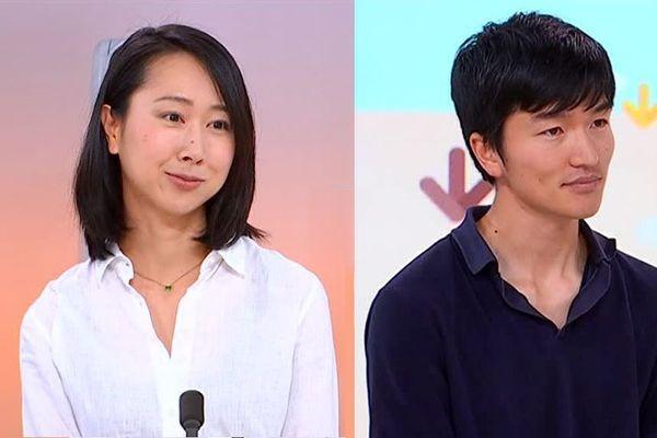 """Rie et Hirofumi Shoji, vignerons japonais installés à Banyuls, sur le plateau de """"9h50 le matin"""", sur France 3 Occitanie, le 17 mai 2018"""