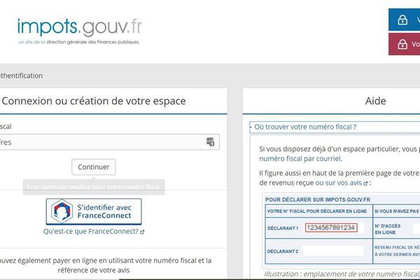 Capture écran accueil du site impots.gouv.fr