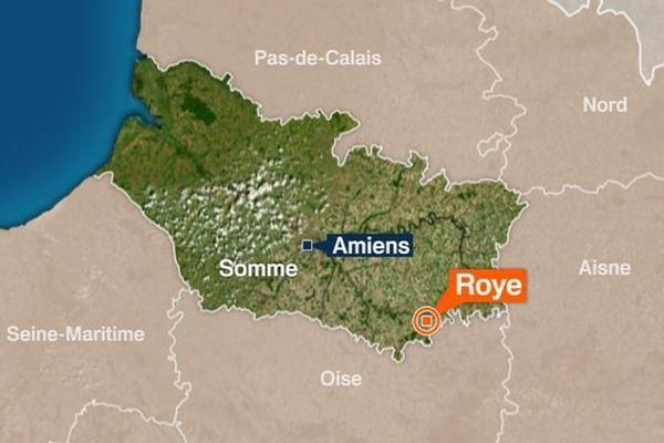Carte de Roye dans le Somme.