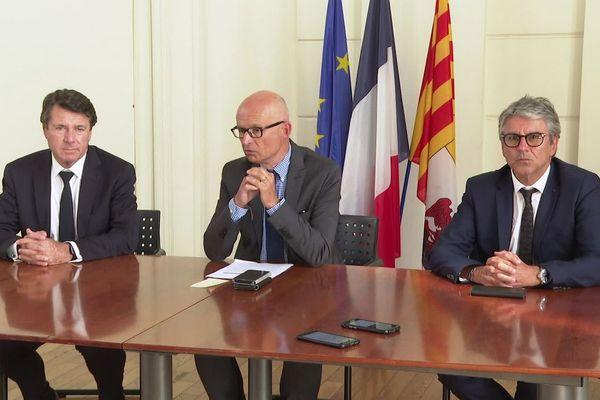 Le maire de Nice, le procureur de Nice et le préfet des Alpes-Maritimes, lors de la conférence de presse de présentation du GLTD.