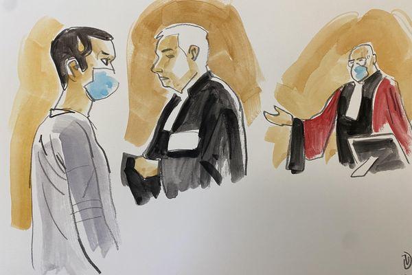 L'accusé, Hicham Ouakki, Me Laurent de Caunes (avocat de la famille de Jérémy Roze) et l'avocat général.