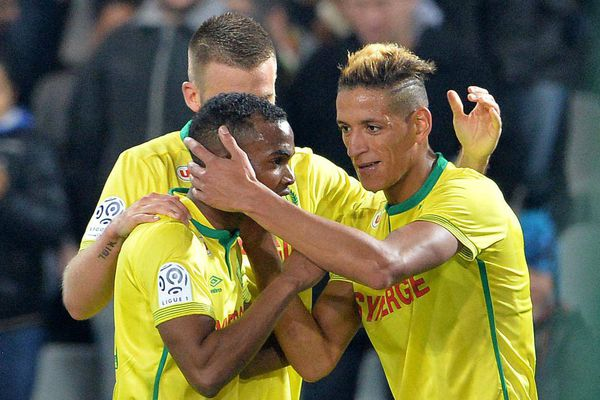 Football, 10ème journée du championnat de France de Ligue 1. Nantes / Troyes : 3-0. La joie de Yacine Bammou
