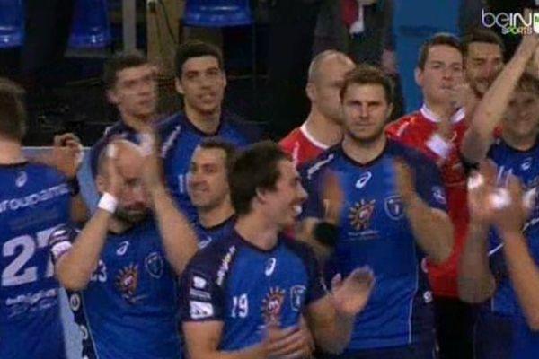 Les handballeurs de Montpellier, invaincus en Coupe EFH, après leur victoire contre le Sporting de Lisbonne 29/03/2014