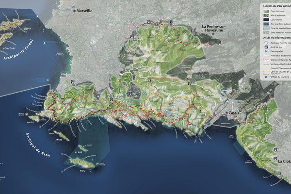 Carte du parc national des calanques, entre Marseille (à l'Ouest) et La Ciotat (à l'Est)