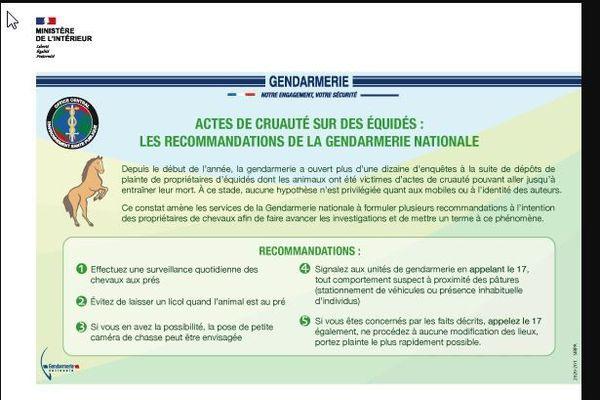 La gendarmerie nationale a diffusé ce message auprès des propriétaires de chevaux et centres équestres