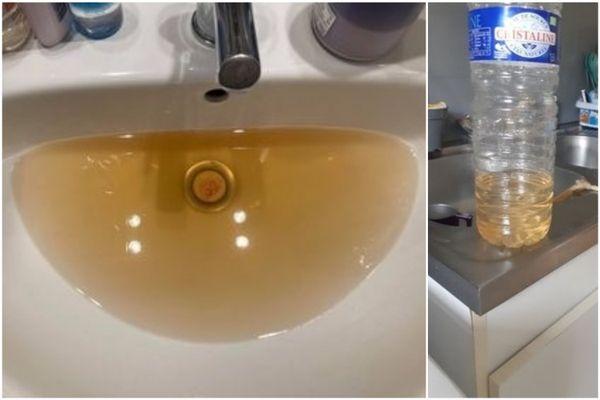 La couleur de l'eau à la sortie du robinet, dans deux foyers de Romilly-sur-Seine.