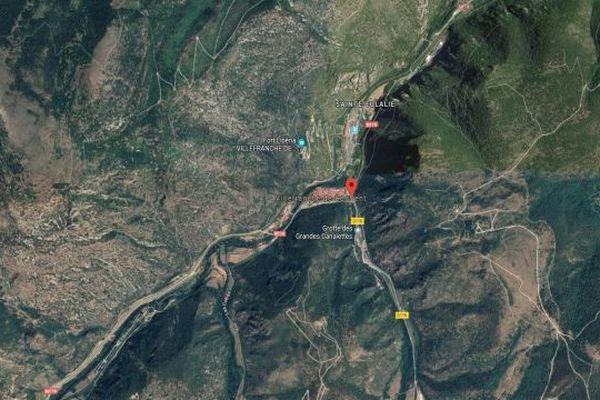La RN 116 à Villefranche-de-Conflent dans les Pyrénées-Orientales