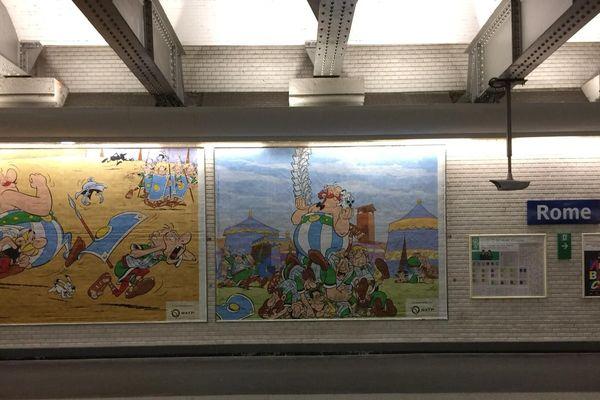 Le métro fête l'anniversaire d'Astérix et Obélix.