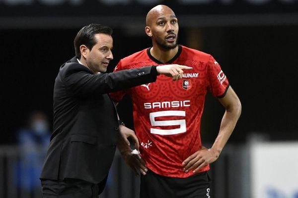 Julien Stephan, entraîneur du Stade Rennais FC et Steven Nzonzi.