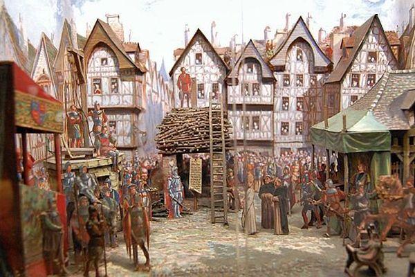 - Le bûcher de Jeanne d'Arc à Rouen. diorama provenant du musée de la place du Vieux-Marché