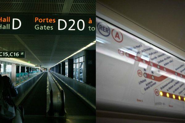 Image d'illustration des transports parisiens : l'aéroport d'Orly et un plan de la ligne A du RER.