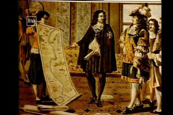 Riquet montre les plans de son canal à Louis XIV