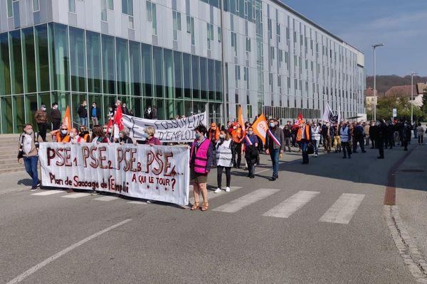 A Belfort, environ 200 personnes ont manifesté ce jeudi 22 avril contre le plan social en cours dans la branche Steam Power de General Electric