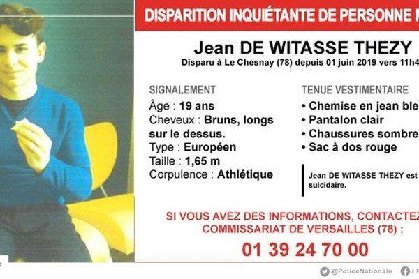 Jean de Witasse Thezy a disparu le 1er juin 2019, au niveau de la commune de Le Chesnay (Les Yvelines).