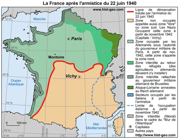 La France découpée en deux par la ligne de démarcation.