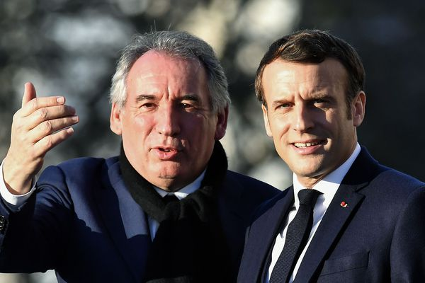 Le 13 janvier à Pau, Le président de la République Emmanuel Macron aux côtés de François Bayrou