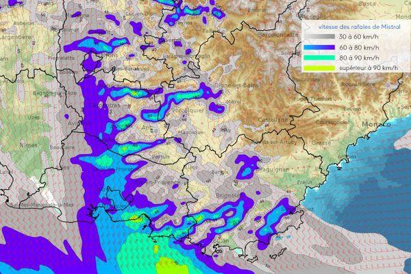 Météo-France : les rafales de vent sur un fond de carte de la région et ses départements lundi 16 août à 23h.